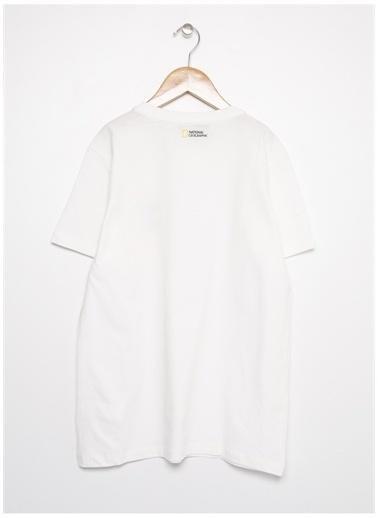 National Geographic National Geographic Erkek Çocuk BaskılıBeyaz T-Shirt Beyaz